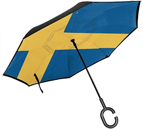 Big Stick Inverted Umbrella Inside Out Regenschirm 2-lagig Faltbarer, winddichter UV-Schutz Multifunktion Mit C-förmigem Griff Innen Flagge von Schweden Aufdruck Für Auto Regen Outdoor 8 Skelett