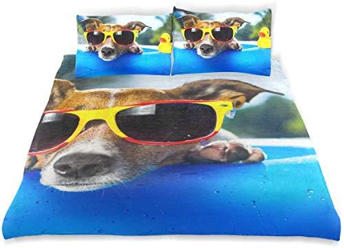 Juego de Funda nórdica Dog On Blue Air Colchón Refrescante Juego de Cama Decorativo de 3 Piezas con 2 Fundas de Almohada