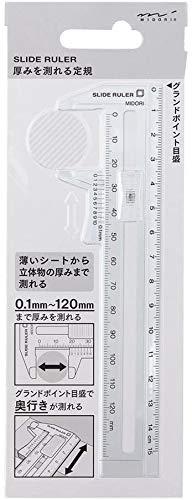 ミドリ CL 厚みを測れる定規 透明 42260006 【× 3 個 】