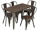 FDW Outdoor Dining Table and Chairs for 4 Patio Table Set 5-Piece Metal Dining Table Set 24x48 Inches Indoor Outdoor Dining Set Table and 4 Chairs Home Kitchen Restaurant Table Rectangular Dining Set