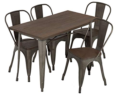 FDW Outdoor Dining Table and Chairs for 4 Patio Table Set 5-Piece Metal Dining Table Set 24×48 Inches Indoor Outdoor…