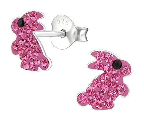 Best Wing Jewelry - Pendientes de tuerca para niños y adolescentes, plata de ley 925, diseño de conejo rosa con cristales de Swarovski