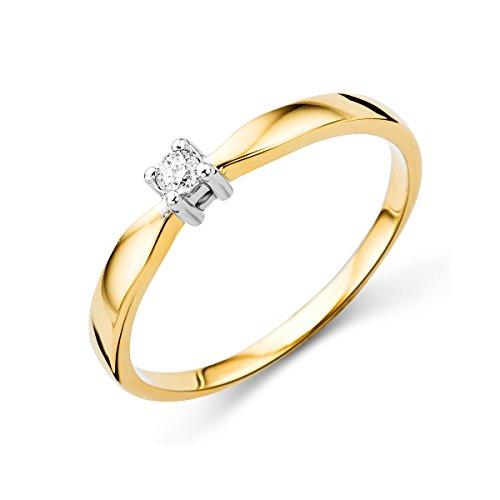 Miore anillo solitario para mujer 14 k 585 oro bicolor 14 quilates con diamante naturale 0.05 quilates