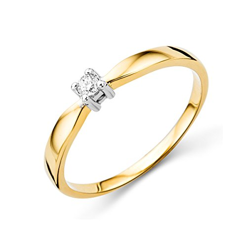 Miore 4 prongs engagement ring in 14 k 585 yellow and white gold with 0.05 ct diamond
