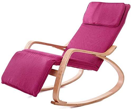 Leichte Möbel Klappbodenstuhl, Holz Lounge Schlafsofa Klapp Schaukelstuhl 5Position Verstellbarer Lazy HighBack Stuhl Bequemer Schwammsitz (Farbe: A) (Farbe: Khaki)