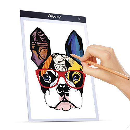 Aibecy LED Licht Pad A4 Leuchttisch Leuchtkasten mit stufenlos dimmbarer Helligkeitsspeicherfunktion für Malen Skizzierung Diamond Painting Animation Zeichnung