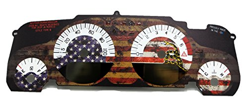Azzy's Design Works Dont Tread On Me US Flag Gauge Face Kit Type A - CEL on Digital Display, fits Jeep Wrangler JK 2007-2012