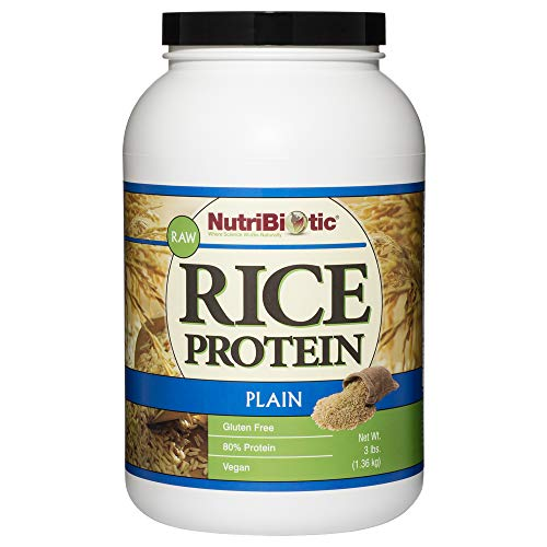 NutriBiotic Rice Protein Plain| 3 Pound| Low Carb Vegan, Raw Protein Powder | Easy to Digest| Non-GMO | Gluten Free| Grown and Processed Without Chemicals | Keto Friendly