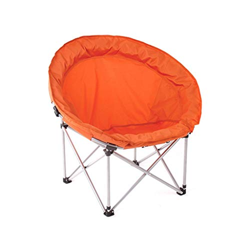 WJSW niture Moon Chair - Silla portátil de Camping para Ocio sin portavasos Estructura de Acero Plegable (Color: Naranja)