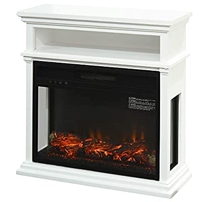 HOMCOM Electric Fireplace with Shelf, Storage Rack, Side Console Table, LED Log Flame, and Auto Heating, White