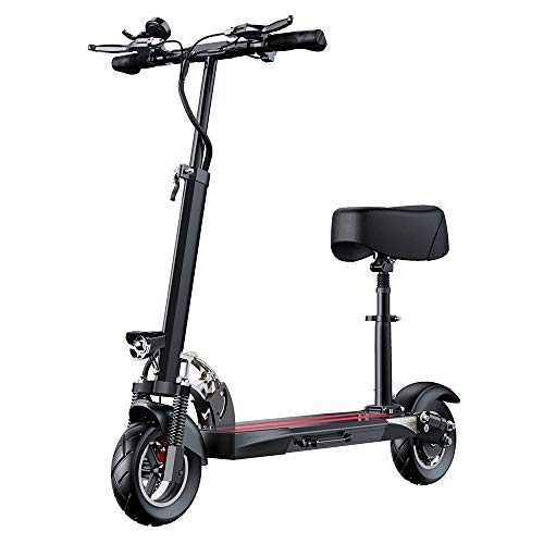 QLPP Scooters Electric Bikes Electric Scooter Electric Scooter with Seat, 48V 500W Motor Speed 24.8 mph Cruise Control Powerful Adult Electric Scooter Lightweight Foldable