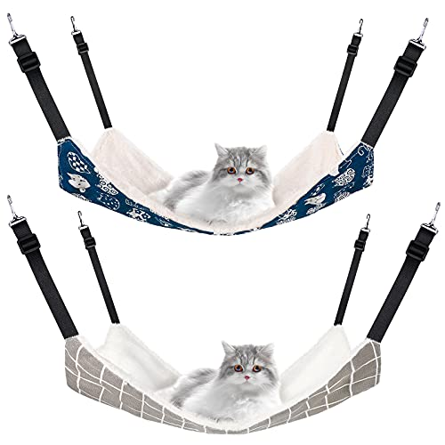 2 Pieces Reversible Cat Hanging Hammock Soft Breathable Pet Cage Hammock with Adjustable Straps and...