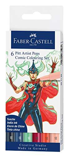 Faber-Castell Pitt Artist Pen 267196 - Set di 6 penne colorate con punta a pennello, colori assortiti