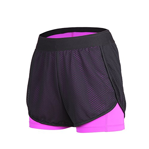 beroy Running Shorts for Women Active Compression 2 in 1 Training Workout Shorts?L,Purple