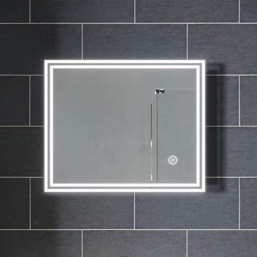 SIRHONA Espejo de Baño 50x60cm con Iluminación LED,Espejo de Pared con Interruptor Táctil,Espejo con Luz de Baño Espejo Grandes de Pared,Clasificación de Impermeabilidad IP44