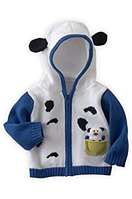 Joobles Organic Baby Cardigan Sweater - Pip The Dog (6-12 Mos) White