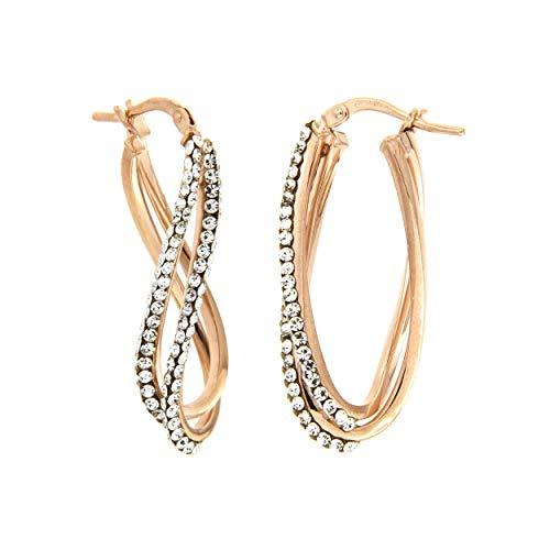 Pendientes de oro de 18quilates con dos tiras de cristales Swarovski Dea Senia oro rosa