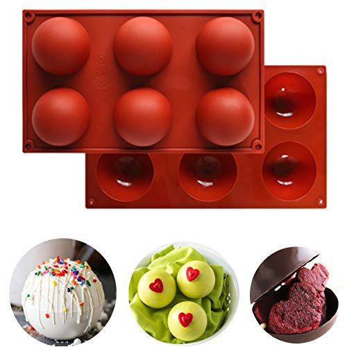 2 Pcs Large 6-Cavity Semi Sphere Silicone Mold Chocolate Bomb Molds 6 Holes for Baking Chocolate, Cake, Jelly, Dome Mousse...
