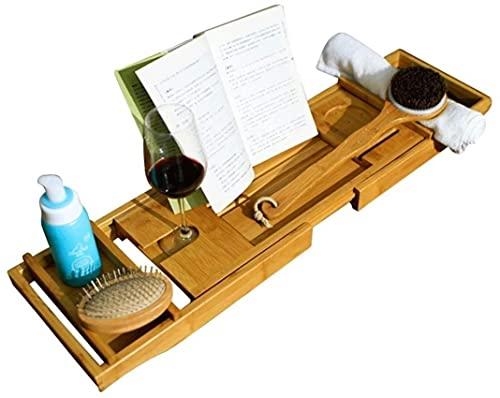 Bandeja para bañera, rejilla de bambú para bañera Almacenamiento multifuncional Lados extensibles Escritorio para computadora portátil Bandeja para teléfono móvil y soporte para copa de vino Barr