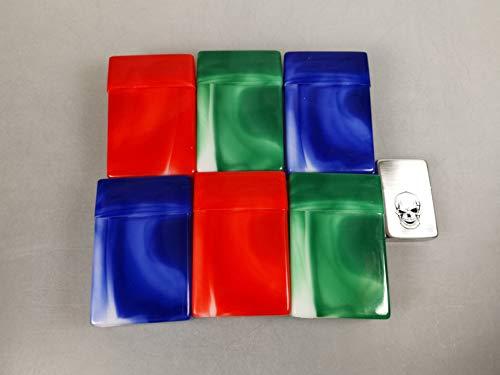 6 x Zigarettenboxen ohne Steg marmoriert für ca. 20 Ziagretten + Feuerzeug Graviert