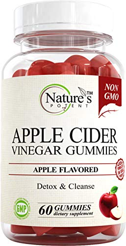 Apple Cider Vinegar Gummies 100% Non-GMO, Natural Detox and Cleanse, Unfiltered ACV – Apple Flavored Gummy Best Alternative to Apple Cider Vinegar Capsules, Pills by Nature's Potent