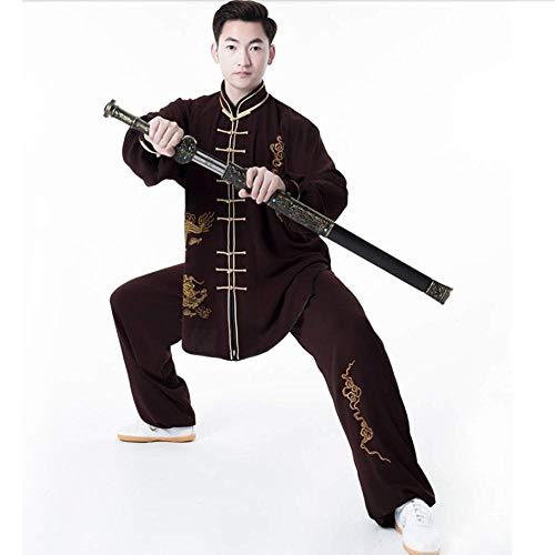 NOLLY Abbigliamento Uniforme di Tai Chi Abbigliamento Tradizionale Cinese di Seta di Cotone Elasticizzato Tai Chi Taekwondo Abbigliamento da Meditazione Wing Chun Zen,Coffee-XXXL