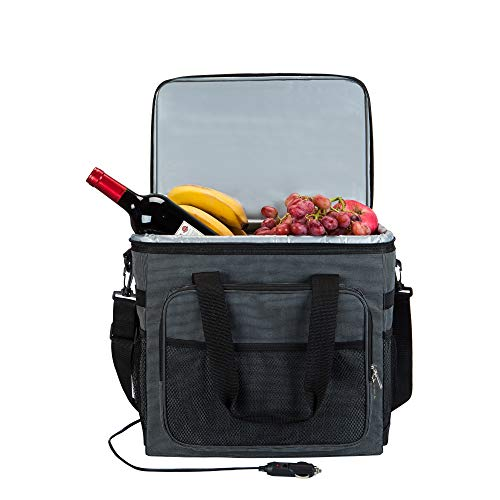 Electric Car Cooler 25L 12V DC- Collapsible Portable Thermoelectric Refrigerator Keep Hot/Cold/Fresh for Hours Folding Waterproof Insulation Soft-Sided Bag with Large Capacity for Travel