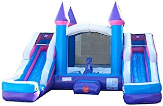 Inflatable Bounce House and Wet / Dry Double Bay Slide, 16-Foot Long by 15-Foot Wide, Crossover Pink and Purple Combo with Blower, Stakes, Repair Kit, and Storage Bag