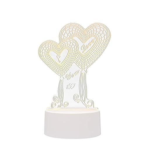Lámparas de ilusión óptica 3D, de acrílico para el día de San Valentín, con cable USB para niños, dormitorio, regalo de cumpleaños (árbol del amor)