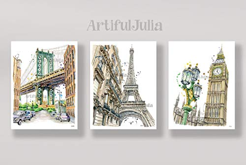 New York France England Dumbo Bridge Eiffel Tower London Big Ben Clock Poster Wall Decor Art of Watercolor Painting a set of 3 prints (NO FRAME, NO CANVAS)