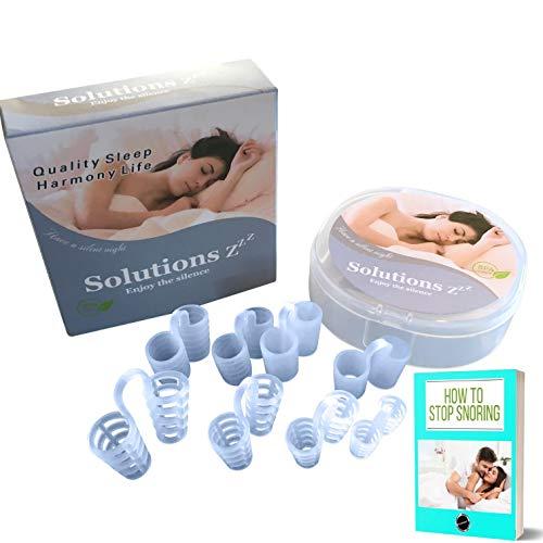 Dilatador nasal antironquidos Solutions ZZZ [8 PCS] 4 tamaños + 2 texturas - GRATUITA: Se envía el ebook a petición del interesado + caja para guardarlo -Este es el producto perfecto para usted