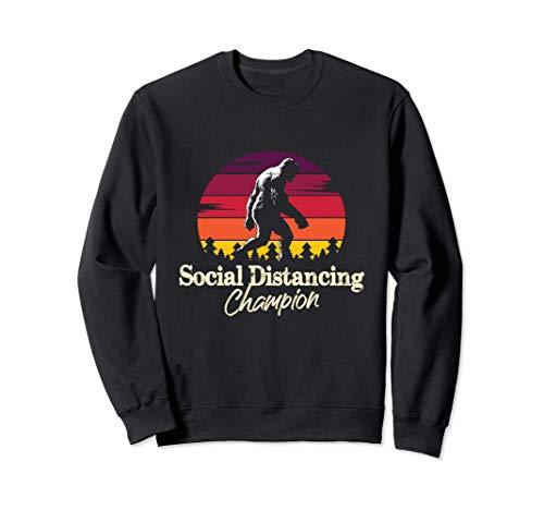 Social Distancing Champion - Vintage Bigfoot - Fun Sasquatch Sudadera