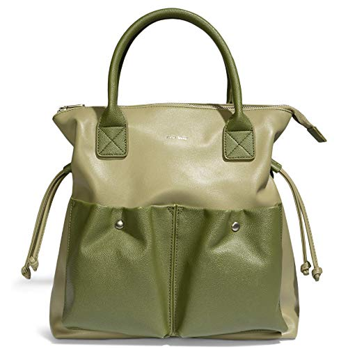 Pixie Mood Avery 13.25 x 12.75 Vegan Leather Convertible Shoulder Bag, Sage