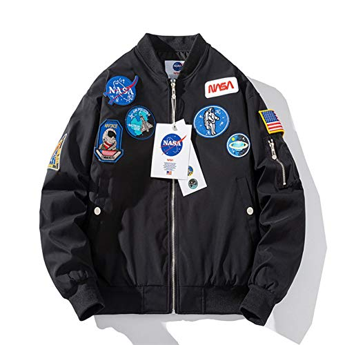 LLGHT Chaqueta Bomber Clásica NASA MA-1 para Hombre Chaqueta Deportiva Ligera Informal Abrigo Impermeable con Cremallera Primavera Otoño Sudadera con Bordado De Parche