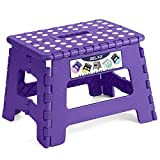 """Delxo 9"""" Folding Step Stool in Purple,1 Pack Premium Heavy Duty Foldable Stool for Kids,Portable Collapsible Plastic Step Stool,Non Slip Folding Stools for Kitchen Bathroom Bedroom"""