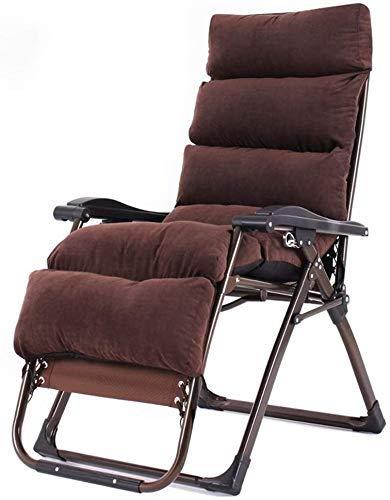 WJXBoos Sillón de jardín Plegable de Gravedad Cero, sillón Plegable, reclinable con Cojines para sillas Pesadas, sillas portátiles, Soporte 260 kg (Color: café)