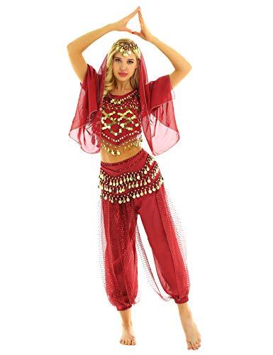 iEFiEL Vestito da Danza del Ventre per Donna Abito da Ballo Indiano 4 PCS Costume Arabo Principessa Indiana Cosplay Halloween Carnevale con Molti Accessori Paillettes Rosso Taglia Unica