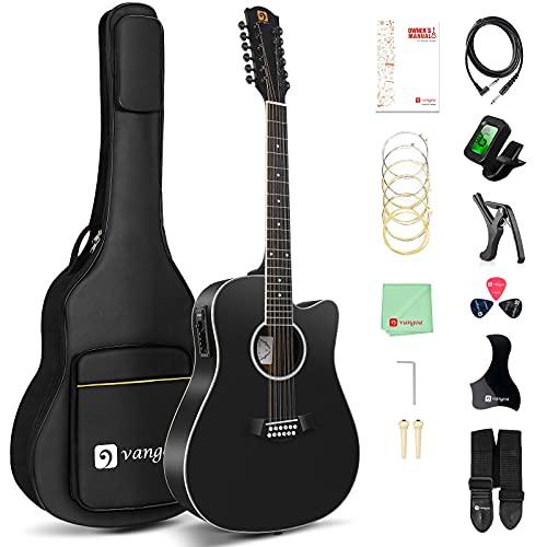 Vangoa 12 String Guitar, Acoustic-electric Dreadnought Cutaway Guitar Bundle, Spruce Top, Bone Nut, Black, Matte(VA20CE BKM12)