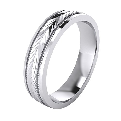 (5 Styles) Heavy Solid Sterling Silver Wedding Band Diamond Cut Patterned Ring Comfort Fit Unisex