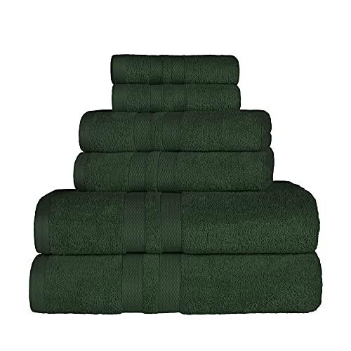 SUPERIOR 100% Cotton Bath Towel Set - 6-Piece Set, 2 Bath Towels, 2 Hand Towels, and 2 Washcloths, Honeycomb Border, Forest Green
