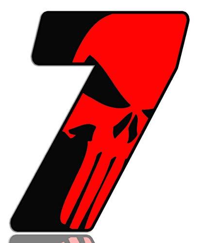 Biomar Labs® Número 7 Punisher Calavera Vinilo Adhesivo Pegatina Coche Auto Motocross Moto Sport Start Racing Tuning N 357
