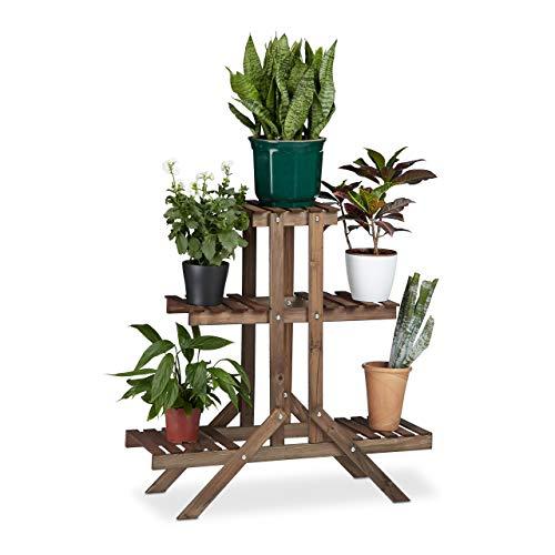 Relaxdays Blumentreppe 3 Ebenen, Aus Holz, Blumenständer für innen, Mehrstöckig, HBT: ca. 82,5 x 83 x 28,5 cm, dunkelbraun