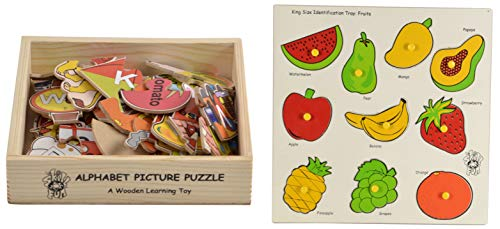 Skillofun - L-55B Wooden Alphabet Picture Puzzle, Multi Color & Skillofun Wooden King Size Identification Tray (Fruits)
