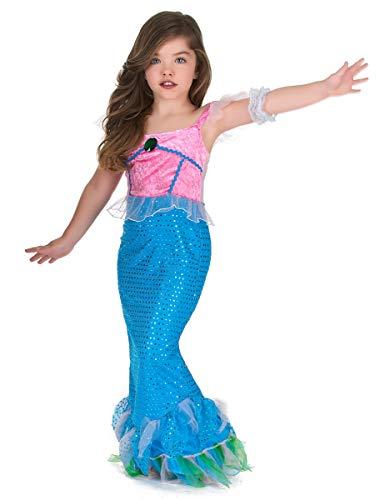 Costume da sirena in rosa e azzurro per bambina 7/9 anni (122/134)