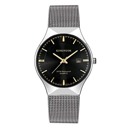 Reloj de moda para hombre, ultrafino, simple, impermeable, con vestido unisex y correa de malla de acero inoxidable
