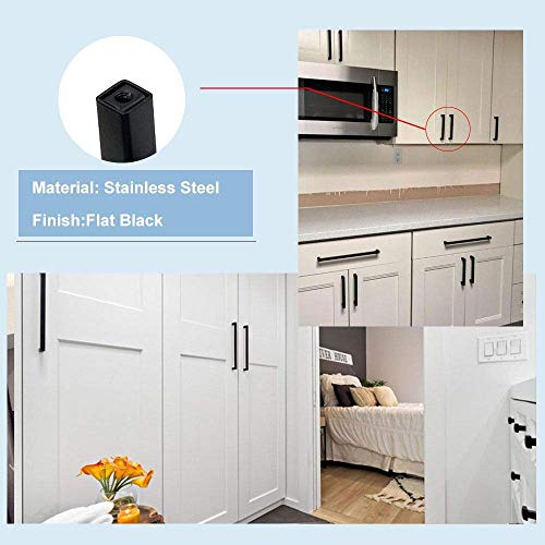 goldenwarm Black Kitchen Cabinet Handles 8inch Hole Centers - LSJ12BK204 Square Bar Pulls for Cabinets Hardware Black Drawer Pulls Matte Black Cabinet Pulls 5Pack