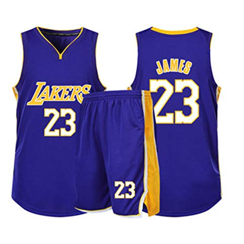 YDYL-LI Basketball Jersey/Uniform Sport Sets Lakers 23# James Fans Trikots Trainings Sweatshirts Für Kinder Teens Boy Atmungsaktiv, Schnell Trocknend,Lila,95~110