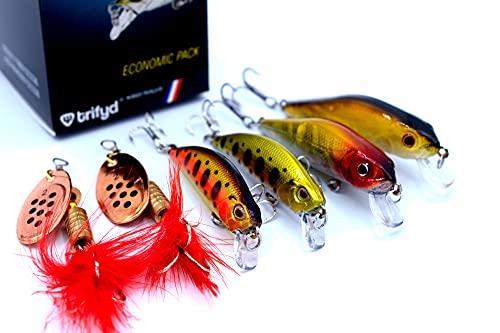Trifyd - Juego de 6 señuelos de pesca para natación, trucha y cuchara giratoria