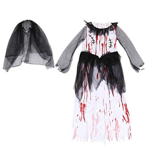 SOIMISS 2Pcs Kinder Zombie Brautkleid mit Schwarzen Schleier Mädchen Halloween Blutigen Kostüm Vampir Cosplay Kleid bis Kleinkind Halloween Partykleid