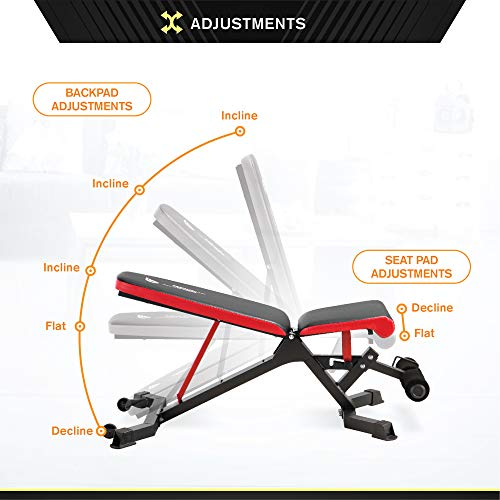 Circuit Fitness 5-Position Utility Weight Bench with Adjustable Seat for Home Gym AMZ-563BN